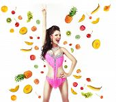 Healthy Lifestyle & Diet Concept. Woman With Mix Of Juicy Fresh Fruit