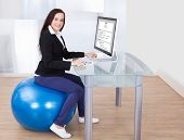 Businesswoman Using Computer While Sitting On Pilates Ball