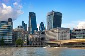 LONDON, UK - AUGUST 9, 2014  South bank walk of the river Thames. London view from the river side