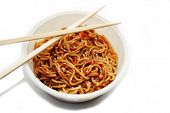 Oriental Noodles In A Bowl With Chopsticks