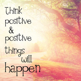 foto of think positive  - Inspirational Typographic Quote  - JPG