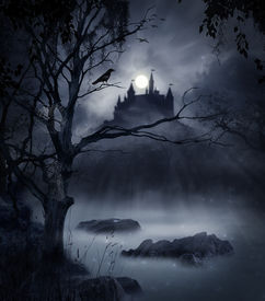 pic of moonlight  - view of a macabre castle on a hill in a dark night - JPG