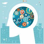 Businessman Head Idea Generation Gear Wheel Icons Space City Start Background Flat Design Vector Ill