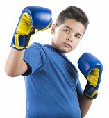 Child ready to swing left hook isolated on white background.