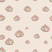 Meringue Dessert Hand Drawn Sketch On Pink Background. Seamless Pattern Vector