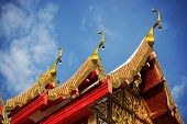 beautiful  temple roof with blue sky