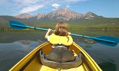 Canadian Landscape With Canoe In Pyramid Lake. Alberta. Canada