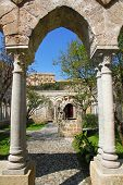 Italy. Sicily Island. Palermo City. The Monastery Courtyard Of San Giovanni Degli Eremiti Church