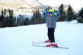 Girl Is Skiing With Fun