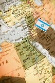 picture of israel people  - map with miniature flag of Israel  - JPG