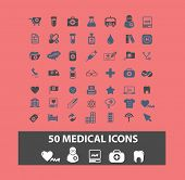 50 medical, health icons, signs, symbols, illustrations set on background, vector