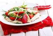 picture of rocket salad  - strawberry rocket and chicken salad on plate - JPG