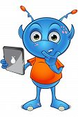 pic of cartoon character  - A cartoon illustration of a cute little light blue alien character - JPG