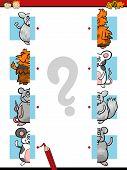 picture of brain teaser  - Cartoon Illustration of Education Halves Matching Game for Preschool Children - JPG