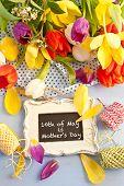 Spring Flowers And Vintage Chalkboard