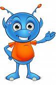 stock photo of alien  - A cartoon illustration of a cute little light blue alien character - JPG
