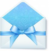 Paper vector envelope with blue bow