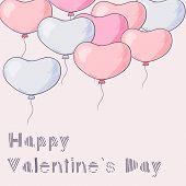 Many Hand Drawn Heart Balloons Flying