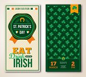 Set Of Vintage Happy St. Patrick's Day Greeting Card or Flyer.
