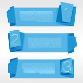 Blue origami banner vector.