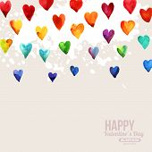 stock photo of romantic  - Rainbow Watercolor Happy Valentines Day Hearts - JPG