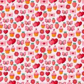 Cute Valentine seamless vintage pattern.