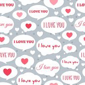 stock photo of friendship day  - Seamless Pattern Tiling with Speech Bubbles and Message I Love You - JPG