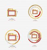 Folder logo, stamp. Accounting binder. Minimal line design