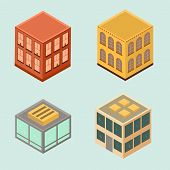 Set of 4 isometric houses in flat style.