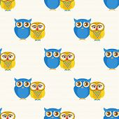 Cute seamless pattern with owls couple. Blue and yellow owls. Vector illustration.
