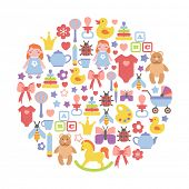 round design element with colorful baby icons