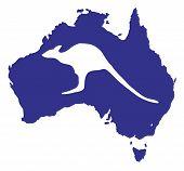 Australia Map With Kangaroo Silhouette