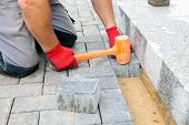 Creating A Pavement. Close Up.