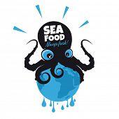 giant cartoon octopus sitting on the earth