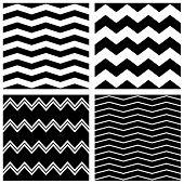 Tile vector chevron pattern set with black zig zag on white background