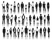 picture of fine art portrait  - Silhouettes Group of People in a Row - JPG
