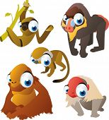 vector isolated cartoon cute animals set: monkeys: saimiri, baboon, orangutan, sloth, macaque