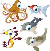 vector isolated cartoon cute animals set: octopus, goldfish, dolphin, seal, sea dragon