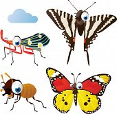 vector isolated cartoon cute animals set: termite, zebra butterfly, monarch butterfly, planthopper