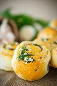 foto of bread rolls  - garlic bread rolls with garlic dill and herbs - JPG