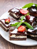 picture of chocolate fudge  - Chocolate fudge brownies with soft cheese filling - JPG