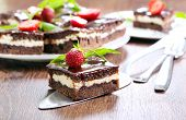 picture of brownie  - Chocolate fudge brownies with cream filling selective focus - JPG