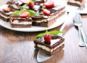 pic of chocolate fudge  - Chocolate fudge brownies with soft cheese filling - JPG