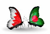 Two Butterflies With Flags On Wings As Symbol Of Relations Bahrain And Bangladesh
