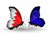 Two Butterflies With Flags On Wings As Symbol Of Relations Bahrain And Eu