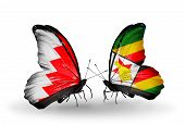 Two Butterflies With Flags On Wings As Symbol Of Relations Bahrain And Zimbabwe