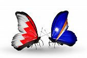Two Butterflies With Flags On Wings As Symbol Of Relations Bahrain And Marshall Islands