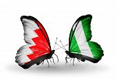 Two Butterflies With Flags On Wings As Symbol Of Relations Bahrain And Nigeria