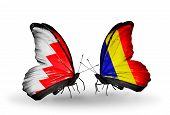 Two Butterflies With Flags On Wings As Symbol Of Relations Bahrain And Chad, Romania