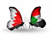 Two Butterflies With Flags On Wings As Symbol Of Relations Bahrain And Sudan